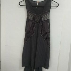 Free People Trinity embellished high low tank